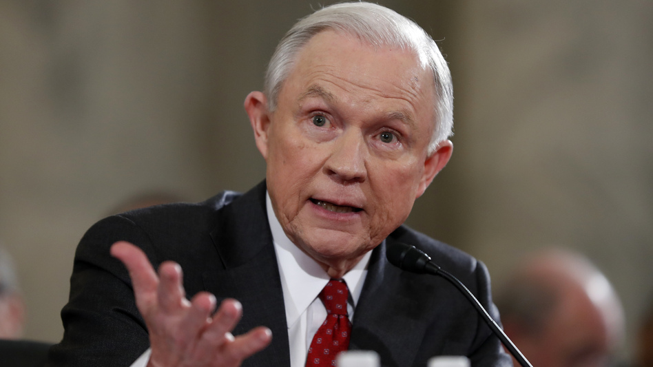 Then-Sen. Jeff Sessions testifies on Jan. 10 at the confirmation hearing on his nomination as attorney general. (Alex Brandon/AP)