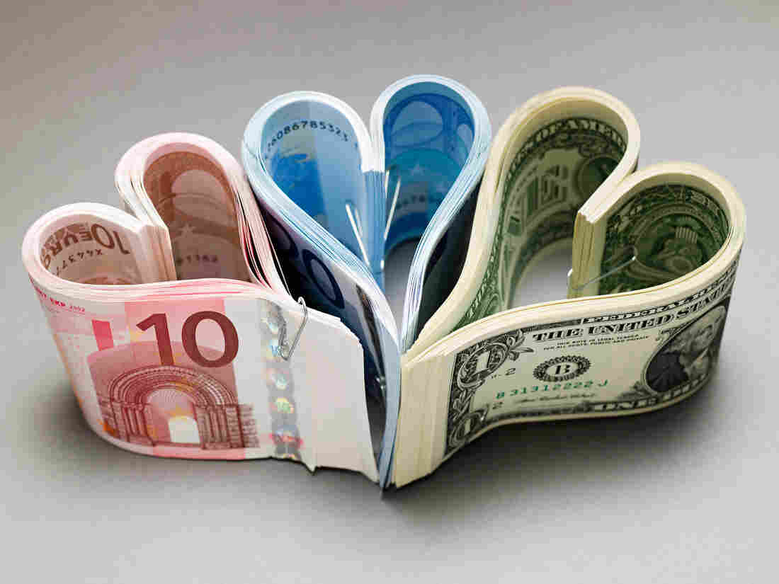 Banknotes as hearts.