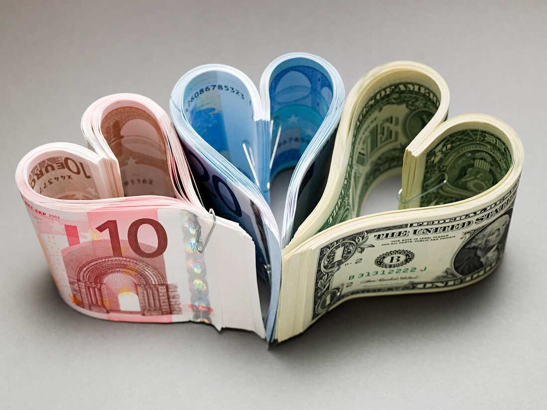 Banknotes as hearts.