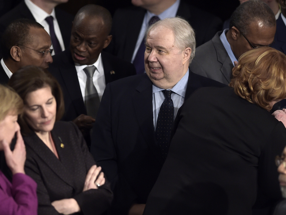 Russian Ambassador Sergey Kislyak arrives before President Trump's address to a joint session of Congress on Tuesday. (Brendan Smialowski/AFP/Getty Images)