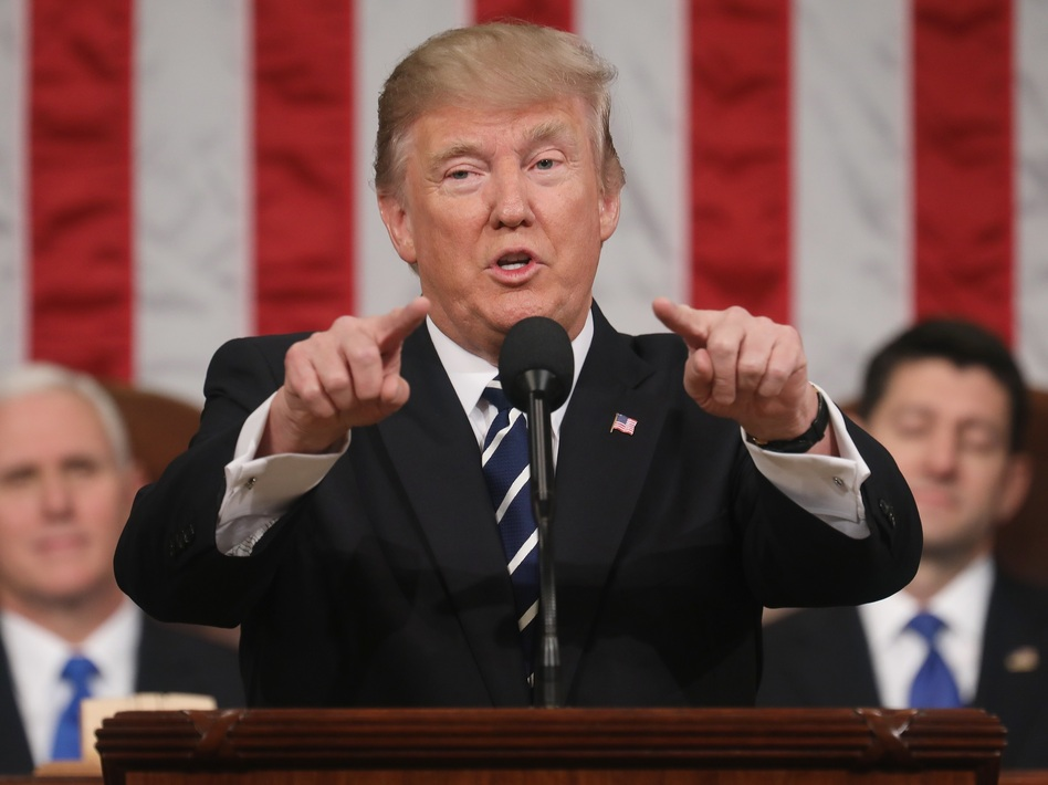 President Trump delivers his first address to a joint session of Congress on Feb. 28 in the House chamber of the Capitol in Washington, D.C. (Pool/Getty Images)