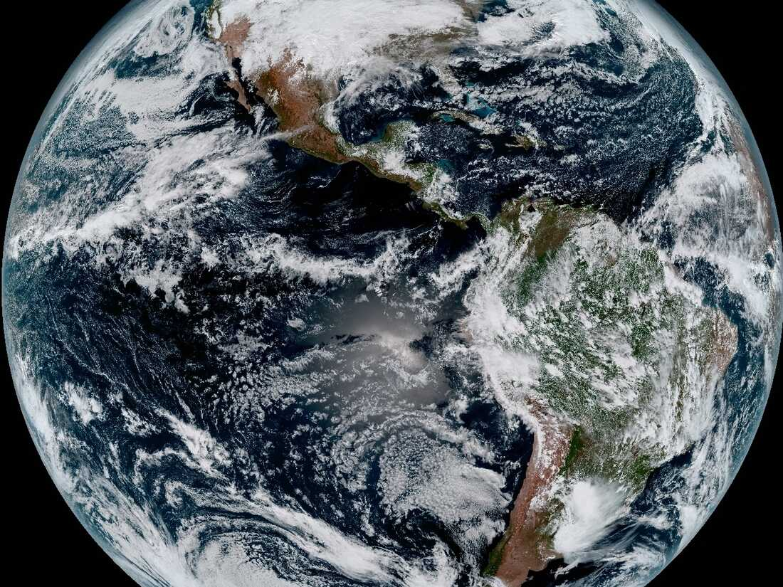A composite image taken by NOAA's newest weather satellite, GOES-16 on Jan. 15, 2017.