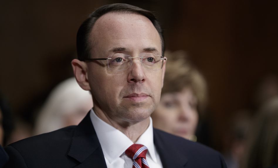 Rod Rosenstein's confirmation hearing to become deputy attorney general on Tuesday became much more about his superiors than his career. (J. Scott Applewhite/AP)