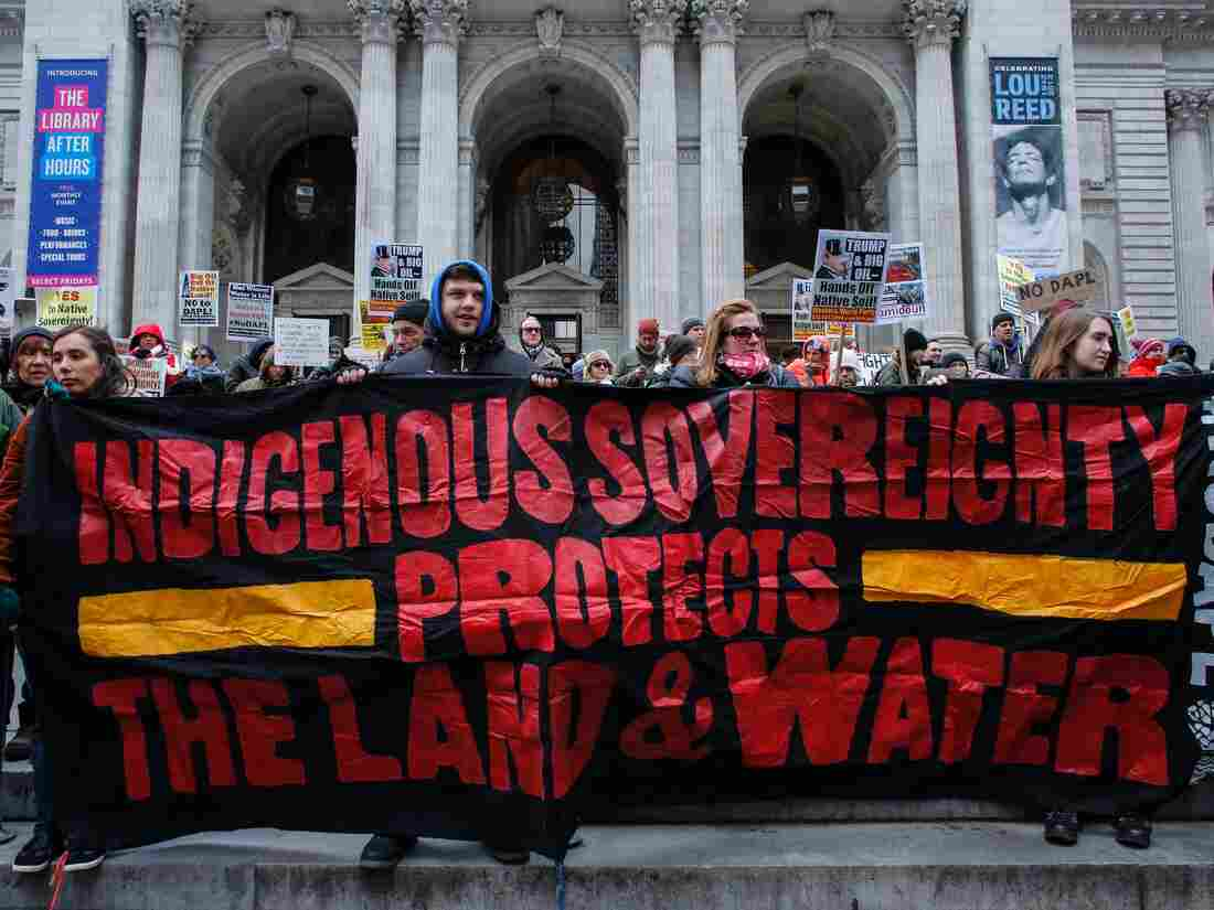 Dakota pipeline opponents march to White House to bring message to Trump