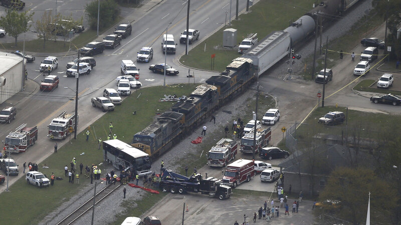 Charter Bus Was Stuck On Tracks When Freight Train Hit It