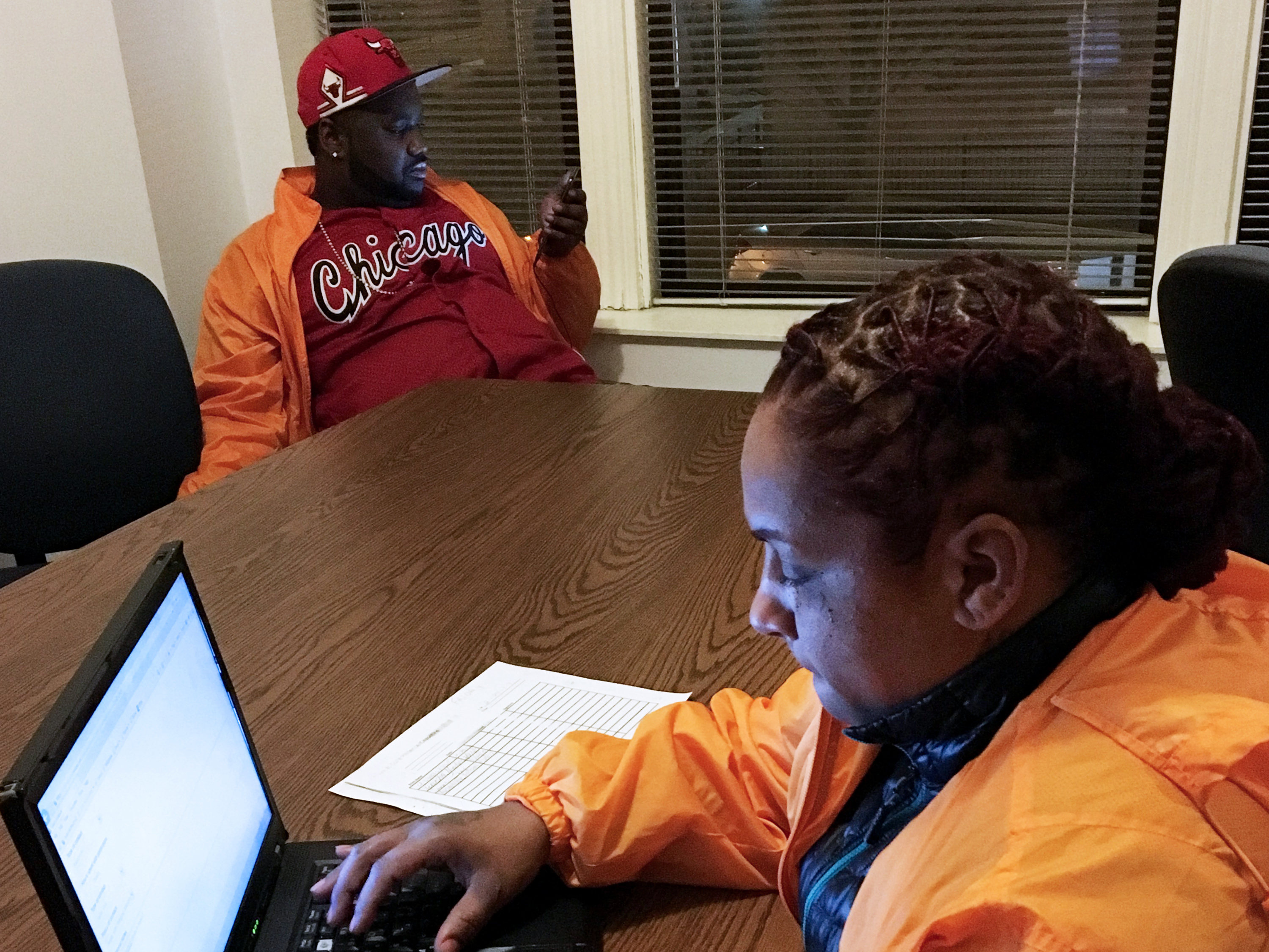 Jerusha Hodge is among the handful of CeaseFire outreach workers who work to curtail violence in three South Side Chicago neighborhoods. Hodge says shootings are down in the areas where CeaseFire has a presence.     (Cheryl Corley/NPR)