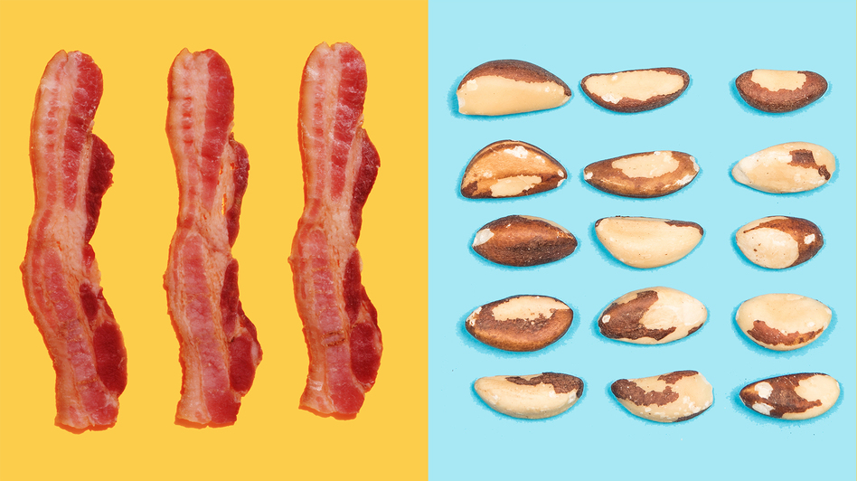 Eating too much bacon, or too few whole grains, nuts and seeds, can influence your risk of death from heart disease. Nearly half of all deaths from heart disease and Type 2 diabetes are linked to diet. (Paul Taylor/Getty Images, John Lawson/Belhaven/Getty Images)