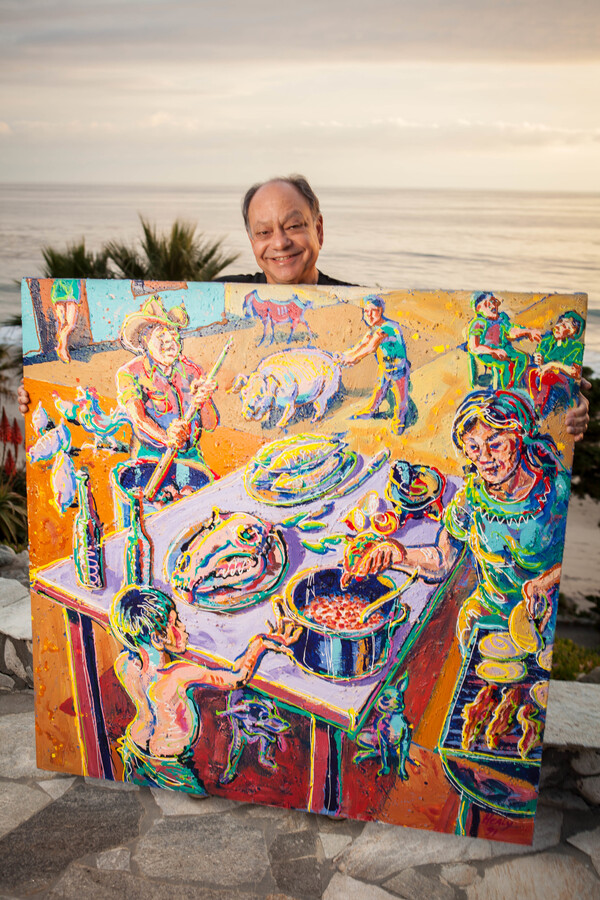 """Cheech Marin describes Wayne Alaniz Healy's Una Tarde en Meoqui as """"Norman Rockwell with jalapenos."""" He says it's his favorite painting in his collection."""