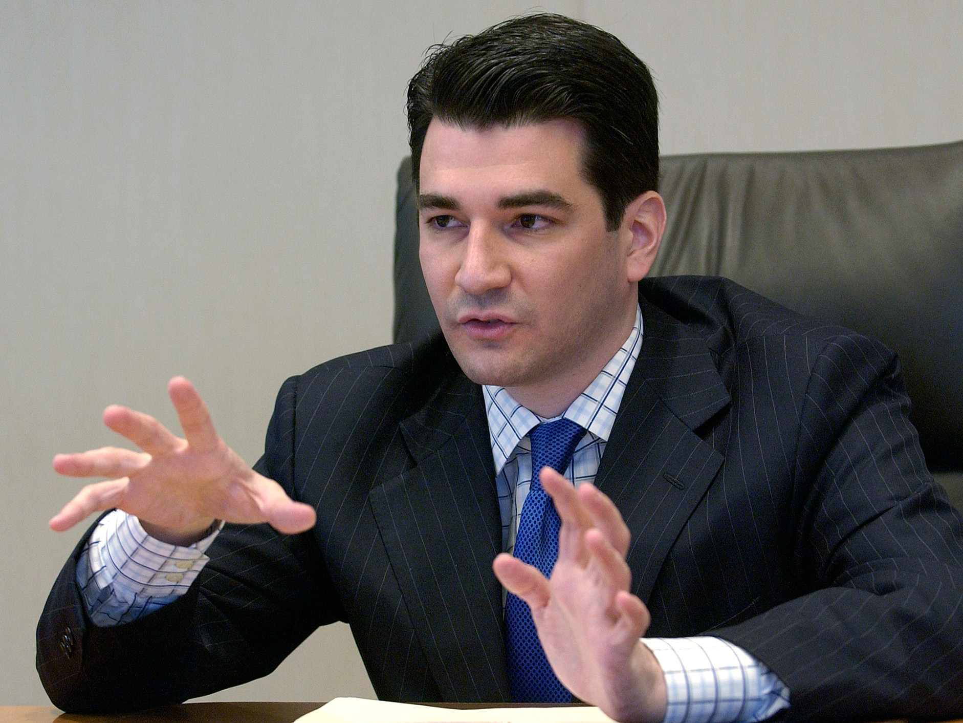 Scott Gottlieb FDA deputy commissioner for policy speaks to reporters at the Reuters Health summit in New York in 2005