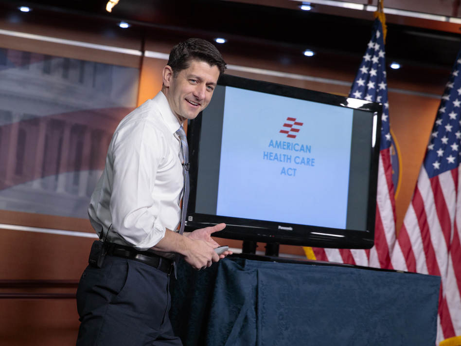 House Speaker Paul Ryan uses charts and graphs to make his case for the GOP's plan to repeal and replace the Affordable Care Act on March 9.