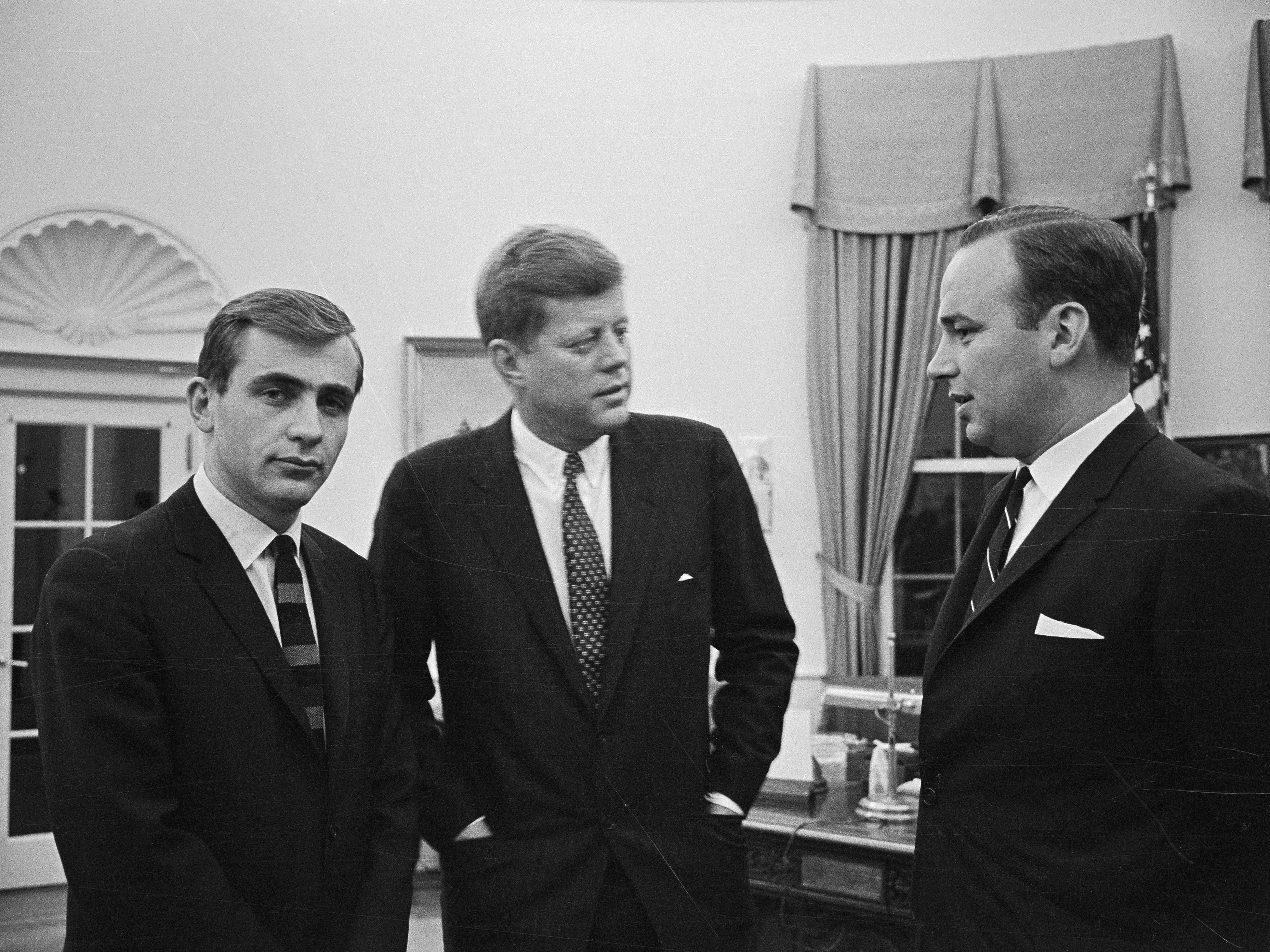 President John Kennedy meets with Rupert Murdoch in 1961. (Bettmann/Getty Images)