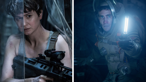 Life and Alien: Covenant (both 2017 films) are about astronauts who have disastrous encounters with extraterrestrials. Pictured: Katherine Waterston (left) in Alien: Covenant and Jake Gyllenhaal in Life.