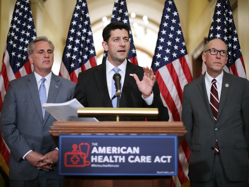 Speaker of the House Paul Ryan, R-Wis., takes questions from reporters about the American Health Care Act during a news conference with House Majority Leader Kevin McCarthy, R-Calif. (left), and House Energy and Commerce Committee Chairman Greg Walden, R-Ore., outside Ryan's office in the U.S. Capitol on March 7.
