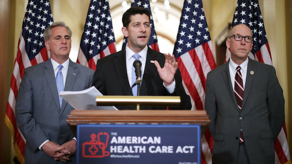 Speaker of the House Paul Ryan, R-Wis., takes questions from reporters about the American Health Care Act during a news conference with House Majority Leader Kevin McCarthy, R-Calif. (left), and House Energy and Commerce Committee Chairman Greg Walden, R-Ore., outside Ryan