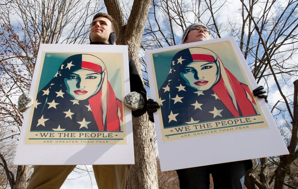 Demonstrators gathered near the White House on March 11 to protest President Trump's travel ban on six Muslim countries. (Tasos Katopodis/AFP/Getty Images)