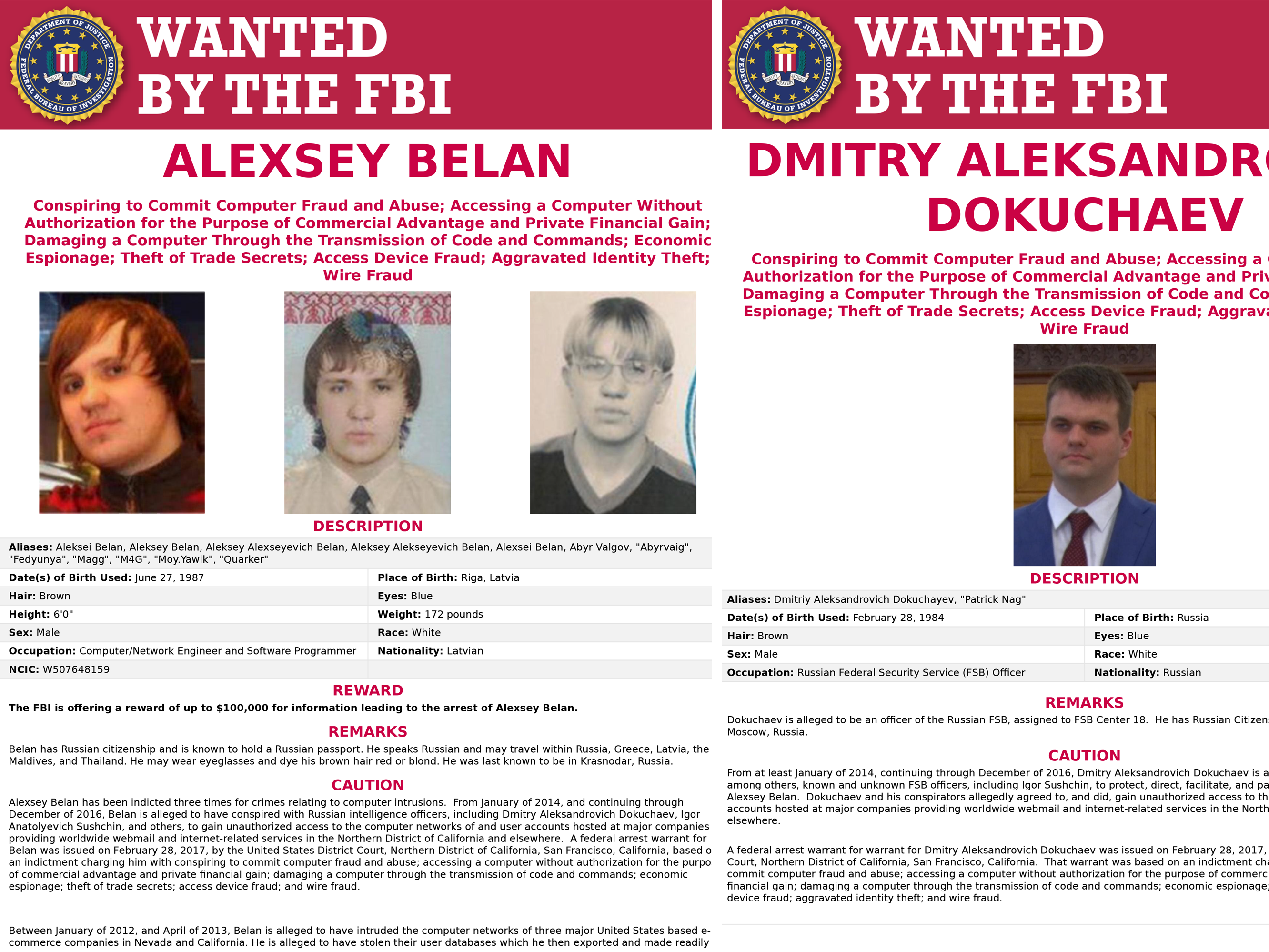 Both Alexsey Belan (left) and Dmitry Dokuchaev (right) were included in the series of 'wanted' posters for Russians accused of cybercrimes Wednesday. (Courtesy of FBI)