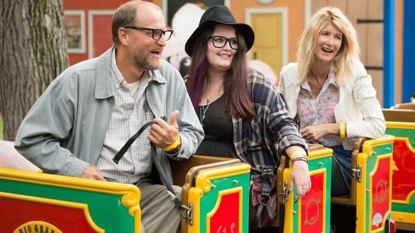 Estrangement on a Train: Wilson (Woody Harrelson), Claire (Isabella Amana) and Pippi (Laura Dern) in Wilson.