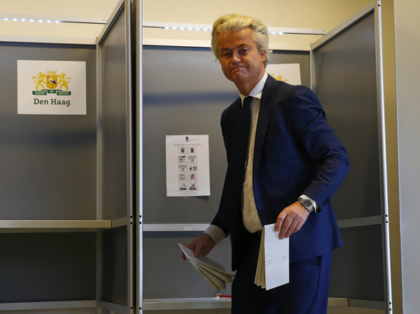 Firebrand ethno-nationalist lawmaker Geert Wilders prepares to cast his vote in the Dutch general election Wednesday in The Hague, Netherlands. Exit polls suggested a poor showing for his party.
