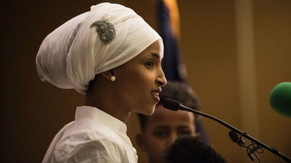 Ilhan Omar, a candidate for State Representative for District 60B in Minnesota, gives an acceptance speech on election night, November 8, 2016 in Minneapolis, Minnesota. Omar, a refugee from Somalia, is the first Somali-American Muslim woman to hold public office.