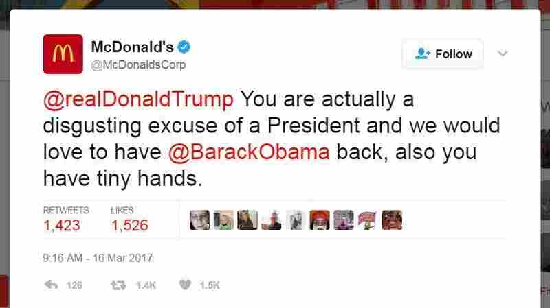McDonald's Tweet Blasts President Trump, And Is Quickly Deleted