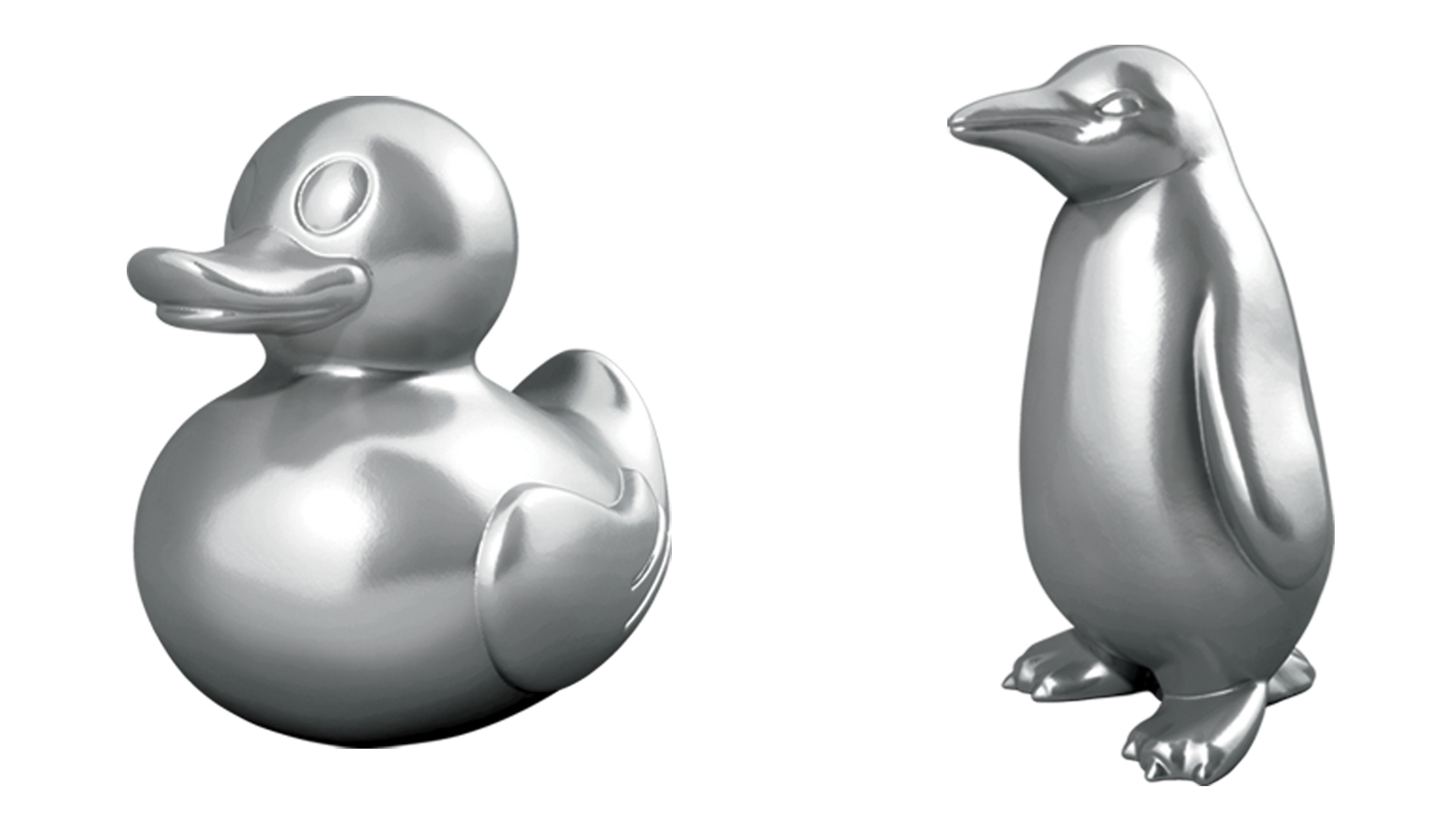 Penguin Dinosaur Duck 3 New Style Monopoly Playing Pieces