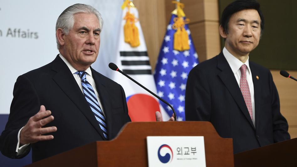 """The policy of strategic patience has ended,"" Secretary of State Rex Tillerson (left) said Friday of dealing with North Korea. Tillerson is visiting South Korea; he's seen here alongside South Korean Foreign Minister Yun Byung-se in Seoul. (Jung Yeon-Je/AP)"