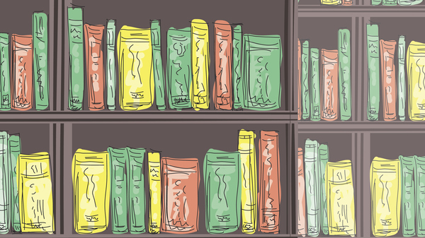 Doodled Coffee And Books. Retro cartoon style sketchy reading and coffee in a library.