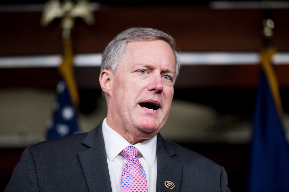 Rep. Mark Meadows, R-N.C., chair of the House Freedom Caucus, speaks during a news conference on Affordable Care Act replacement legislation in February. (Bill Clark/CQ-Roll Call, Inc.)