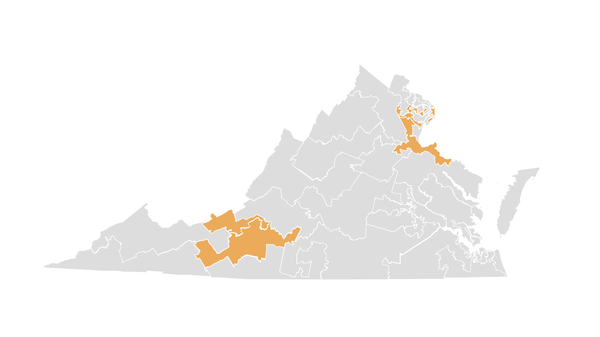Challenged Virginia state senate districts