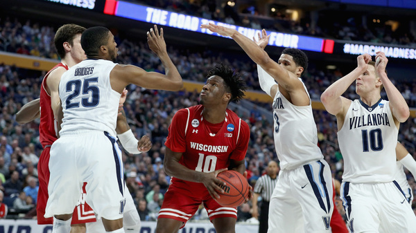 Nigel Hayes, #10, helped drive Wisconsin to a win with a tie-breaker layup against Villanova during the second round of the 2017 NCAA Men