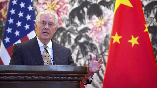 Secretary of State Rex Tillerson holds a joint press conference with Chinese Foreign Minister Wang Yi at Diaoyutai State Guesthouse on March 18, 2017 in Beijing, China.
