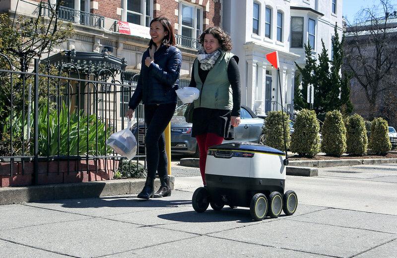 The Delivery Bot Zips Its Way Down A Washington D C Sidewalk During Demonstration Of Autonomous Machine Meg Kelly Npr Hide Caption