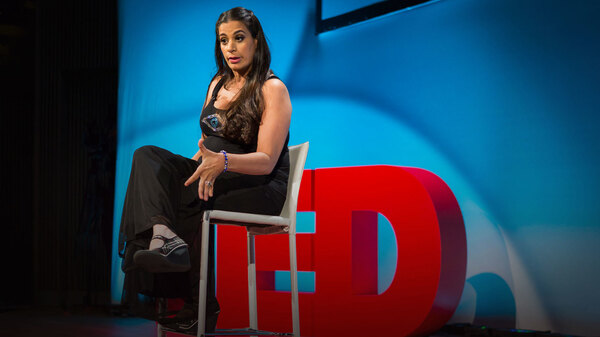 Maysoon Zayid on the TED stage.