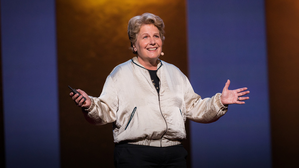 Sandi Toksvig on the TED Stage at TEDWomen 2016 in San Francisco, California.
