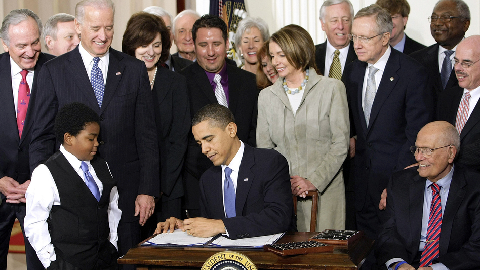President Obama signs the Affordable Care Act on March 23, 2010. Since then, the bill has been a battering ram for Republicans. But they're struggling to replace it under President Trump. (J. Scott Applewhite/AP)