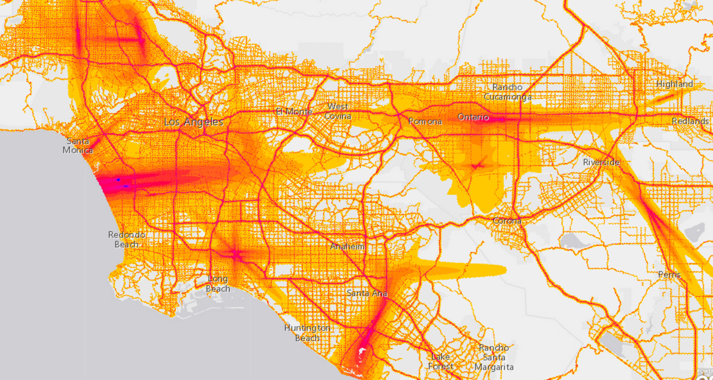 Los Angeles. (Bureau of Transportation Statistics/Screenshot by NPR)