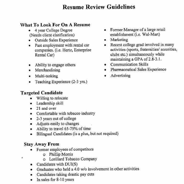 "Resume review guidelines provided by R.J. Reynolds to Kelly Services, which helped screen job applicants. Among the various aspects listed as undesirable is ""in sales for 8-10 years."""