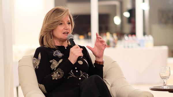 Ariana Huffington speaks on stage during a conference in 2016 in New York City. She