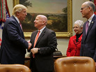 President Trump, left, greets House Ways And Means Committee Chairman Kevin Brady, the lead author of Republicans' tax reform plans, before a meeting to discuss the American Health Care Act on March 10 at the White House. Analysts say the GOP's failure to pass its Obamacare alternative bodes poorly for Brady's tax package.