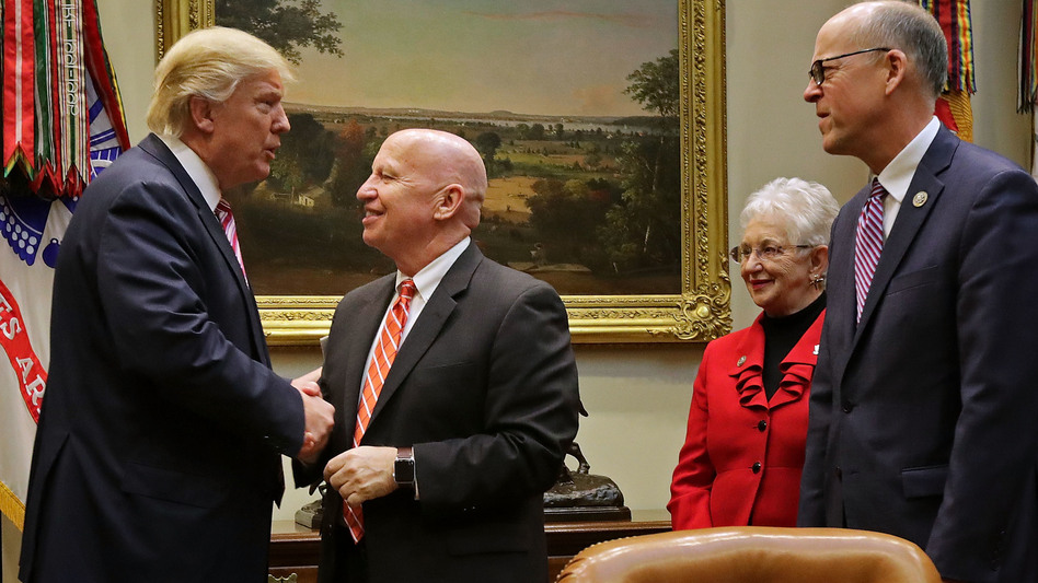 President Trump, left, greets House Ways And Means Committee Chairman Kevin Brady, the lead author of Republicans' tax reform plans, before a meeting to discuss the American Health Care Act on March 10 at the White House. Analysts say the GOP's failure to pass its Obamacare alternative bodes poorly for Brady's tax package. (Chip Somodevilla/Getty Images)