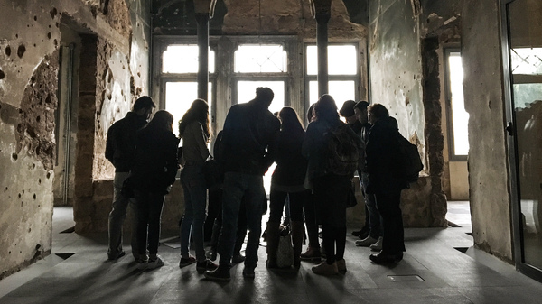 A group of students visits the Beirut mansion that architect Mona El Hallak is working to transform into a museum making sense of Lebanon