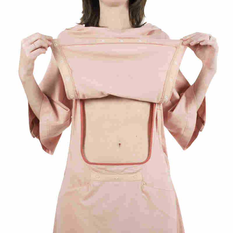 INGA Wellbeing back-opening nightdress with abdominal access.