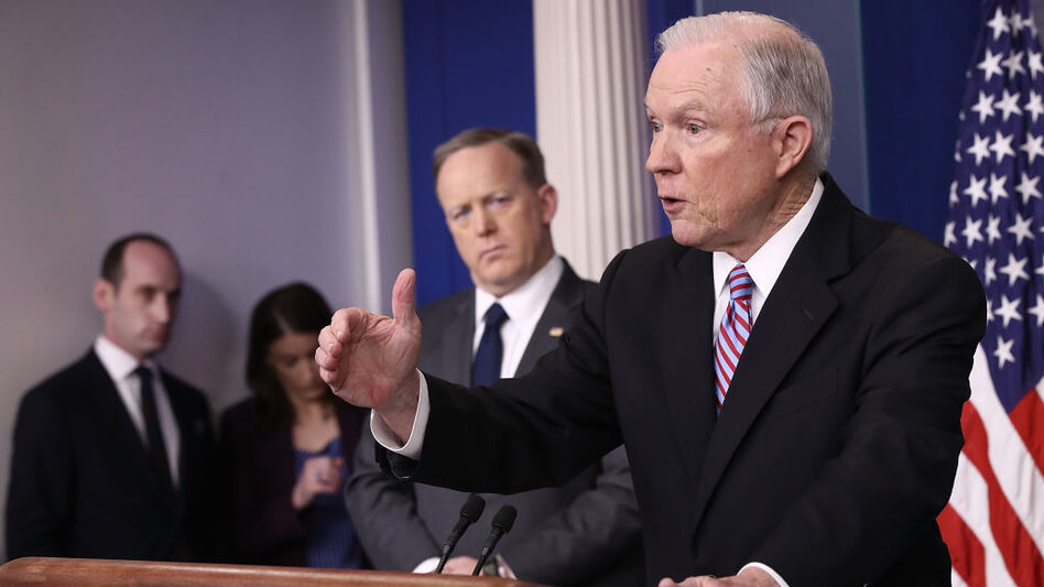 Attorney General Jeff Sessions delivers remarks during the daily White House press briefing on Monday. (Win McNamee/Getty Images)