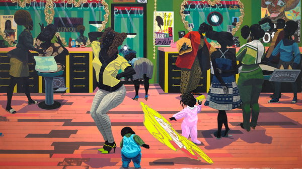 Kerry James Marshall, School of Beauty, School of Culture, acrylic and glitter on unstretched canvas, 2012