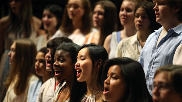 Members of the Brooklyn Youth Chorus perform in Bryce Dessner