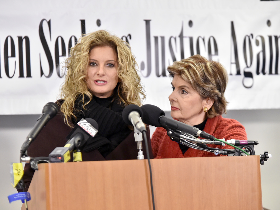 Summer Zervos, shown with attorney Gloria Allred earlier this year in Washington, D.C., accuses President Trump of sexual harassment and has filed a lawsuit against him. (Mike Coppola/Getty Images)