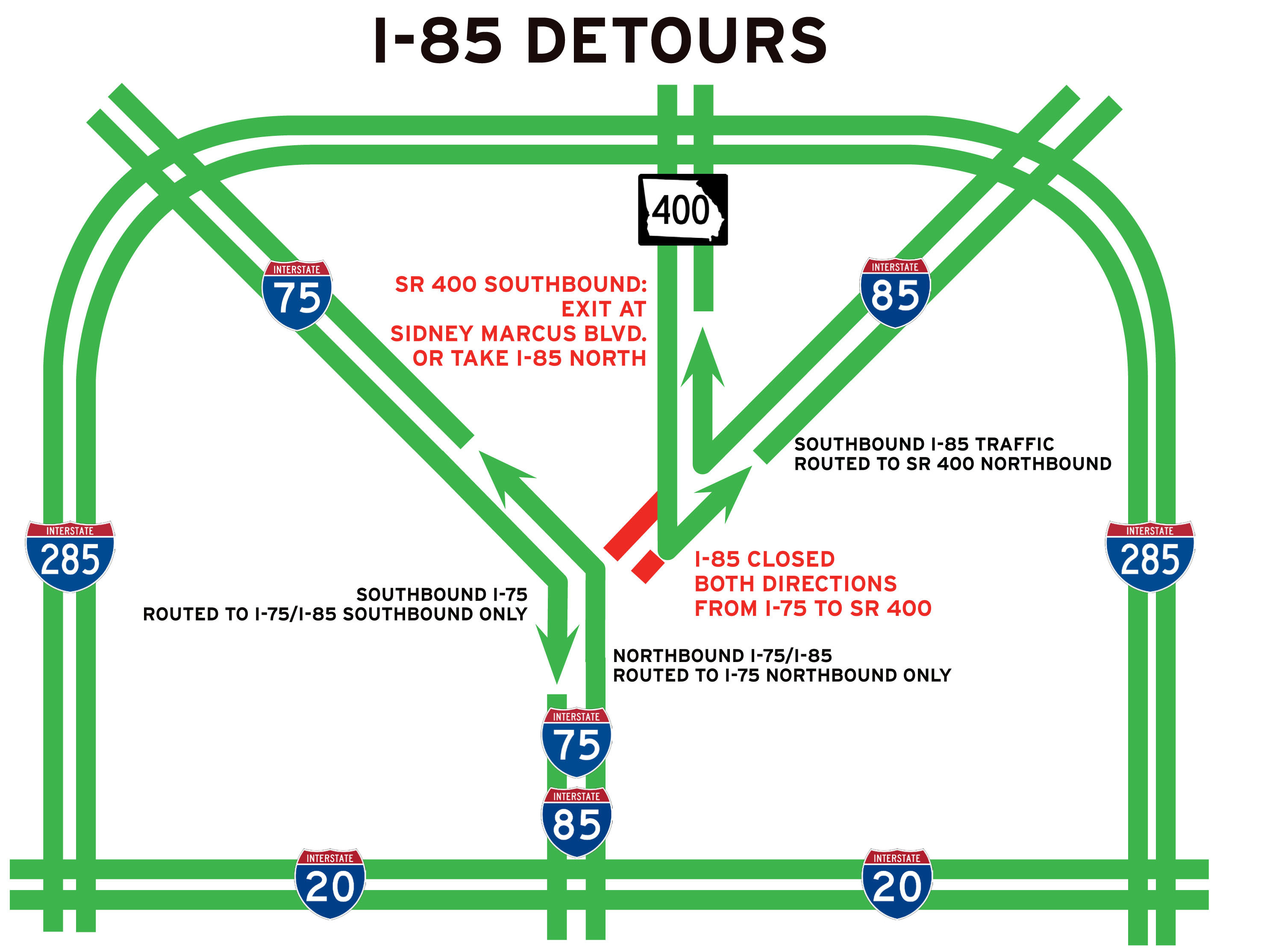 Map Of I 85 Georgia.I 85 Bridge Collapse In Atlanta Brings Headache To 250 000 Drivers A