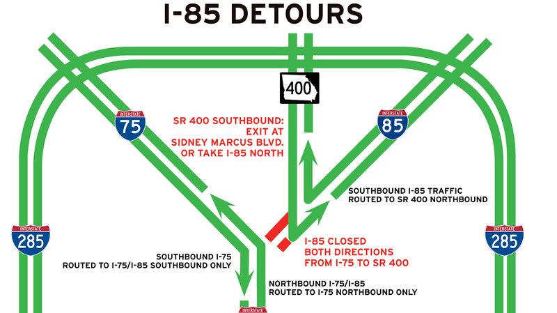 I 85 Collapse Atlanta Map.I 85 Bridge Collapse In Atlanta Brings Headache To 250 000 Drivers A