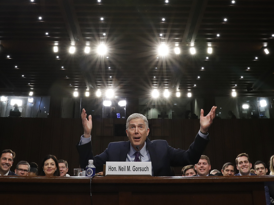 Supreme Court nominee Neil Gorsuch gestures as he speaks during his confirmation hearing before the Senate Judiciary Committee. (Pablo Martinez Monsivais/AP)