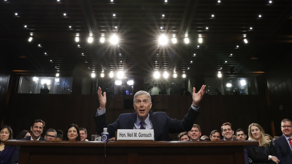 Supreme Court Justice nominee Neil Gorsuch gestures as he speaks during his confirmation hearing before the Senate Judiciary Committee.